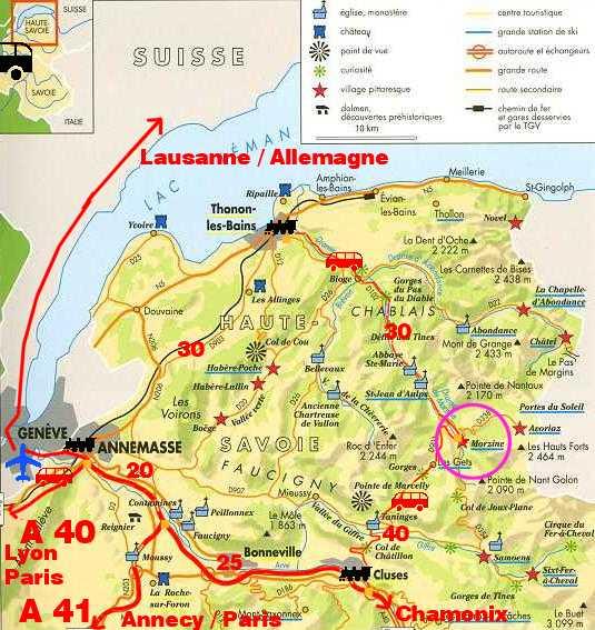 Plan Du Chablais Et Itineraires Pour Acceder A Morzine Par La Route Le Train