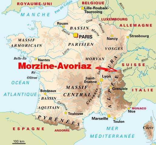 Carte De France Situation La Station Ski Morzine Avoriaz Portes